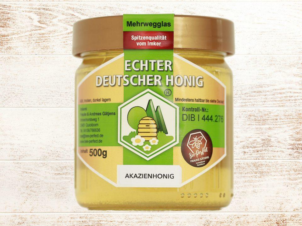 Bee Perfect Honigsorte Akazienhonig, Vorderansicht