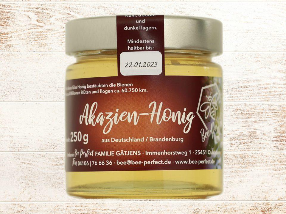 Bee Perfect Honigsorte kleiner Akazienhonig, Vorderansicht
