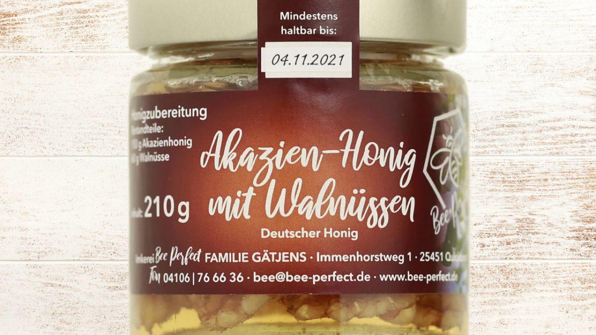 Bee Perfect Honigzubereitung Akazienhonig mit Walnüssen, Vorderansicht