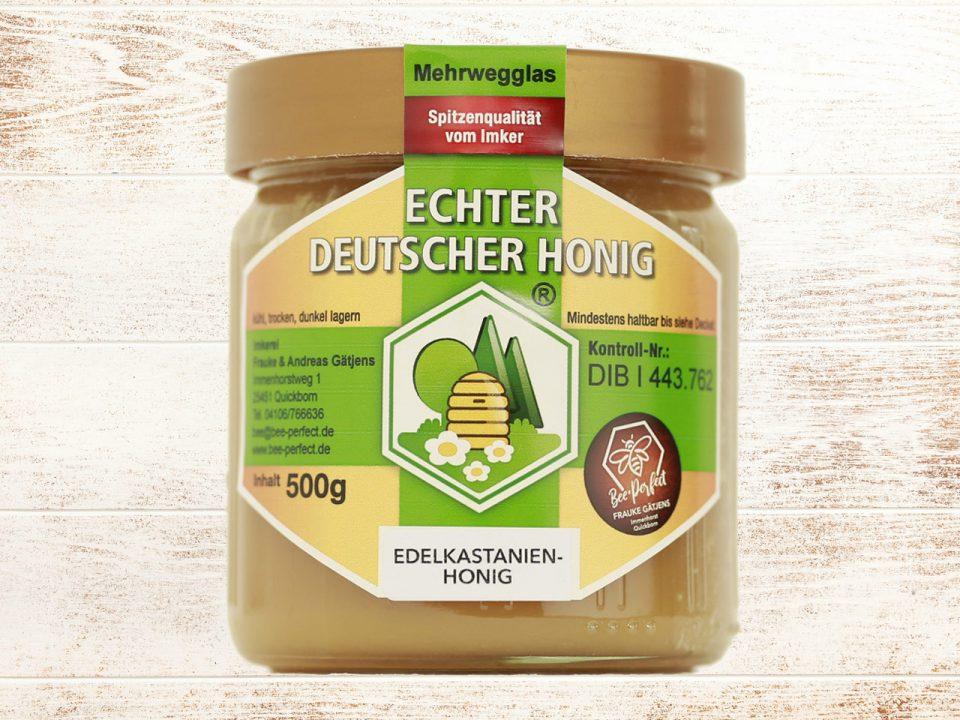 Bee Perfect Honigsorte Edelkastanienhonig, Vorderansicht