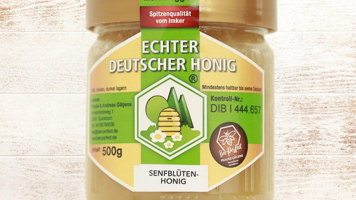 Bee Perfect Honigsorte Senfblütenhonig, Vorderansicht